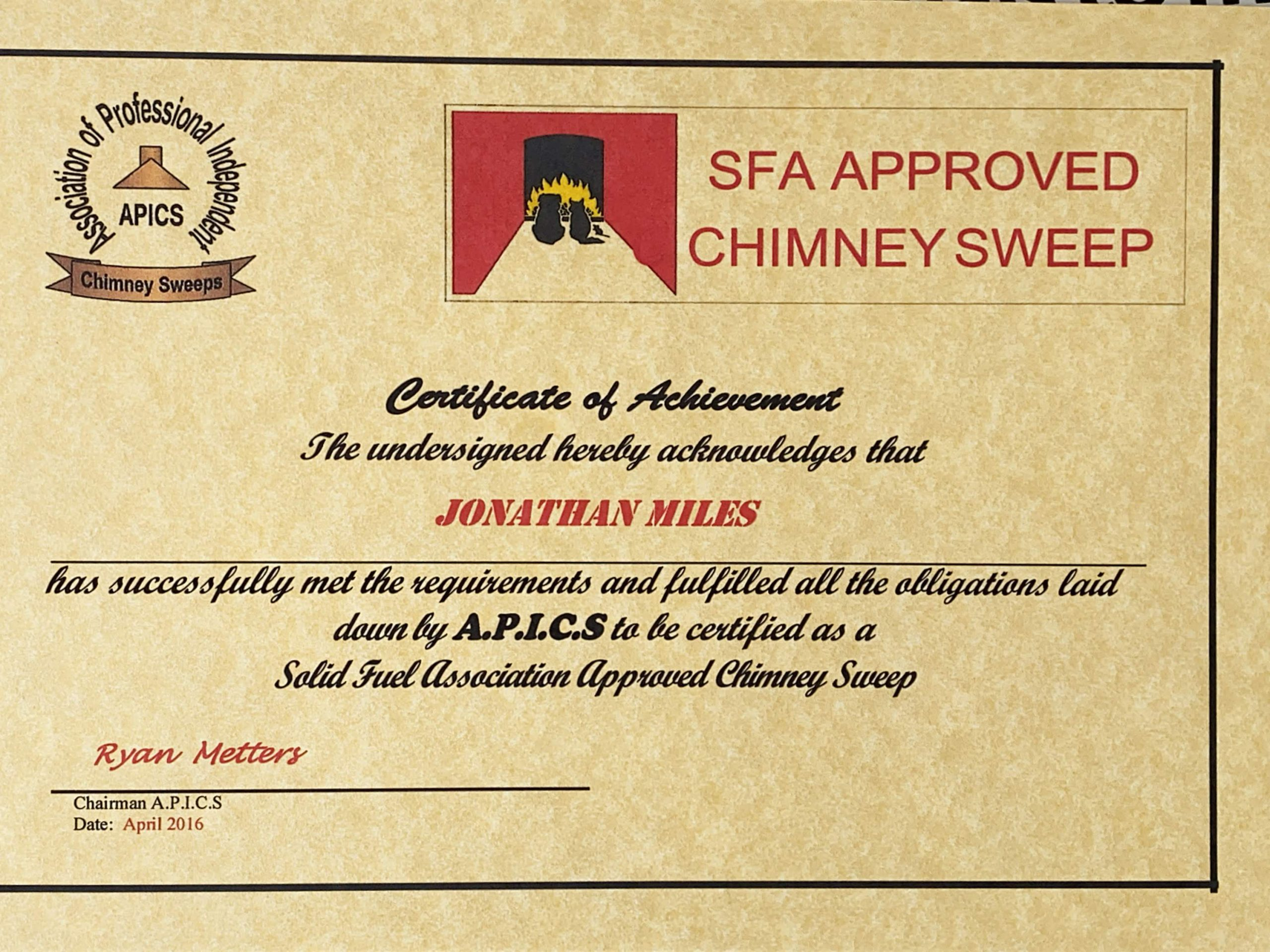 Exeter Chimney Sweep SFA Approved